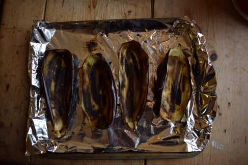 Aubergine skins - charred for the perfect baba ganoush recipe