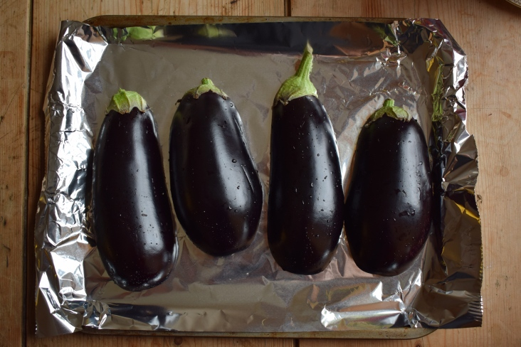 Beautiful raw aubergines - baba ganoush recipe