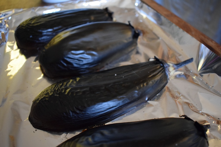 blackened aubergines - baba ganoush recipe from Crumbs and Roses