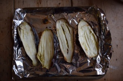 Charred aubergines for baba ganoush recipe