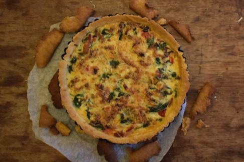 Red pepper, pancetta and spinach quiche - easy recipe from Crumbs and Roses blog