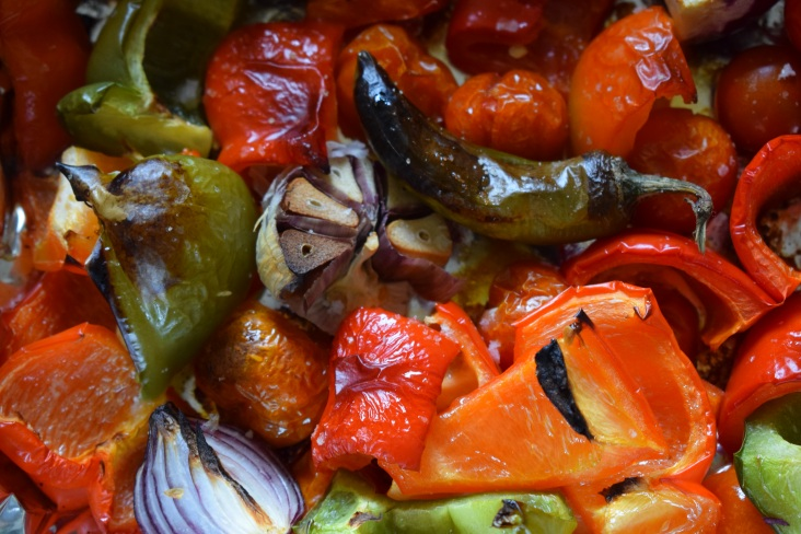 Charred vegetables ready for making a delicious vegan dip called Muhamra - recipe from Crumbs and Roses