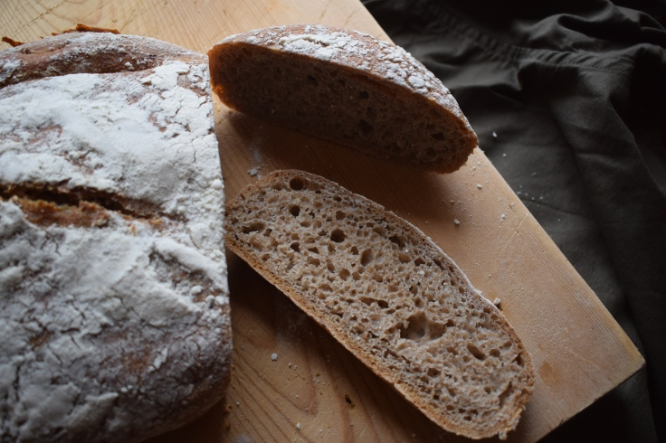 Fresh sourdough loaf - sourdough care techniques from Crumbs and Roses blog
