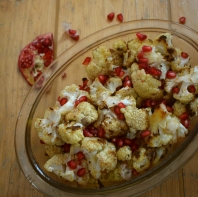 Beautiful roasted cauliflower with pomegranate - Crumbs and Roses food blog