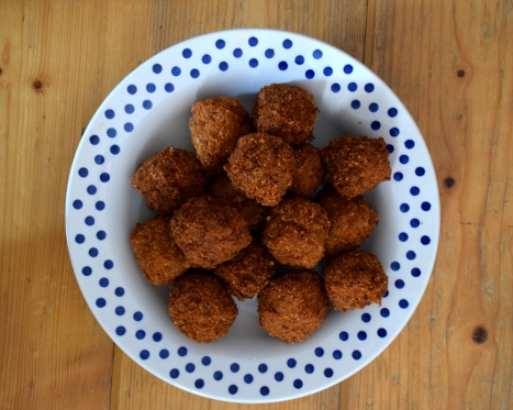 Fresh falafel are just amazing - you'll never buy store-bought again. Crumbs and Roses blog