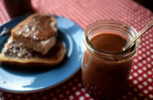 A jar of homemade chocolate hazelnut spread