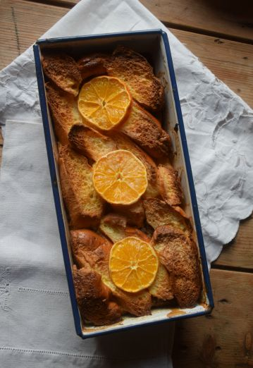 Golden brown bread and butter pudding - leftovers recipe from Crumbs and Roses