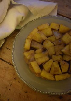 Recipe for tarte tatin with a tropical twist, using leftover pineapple